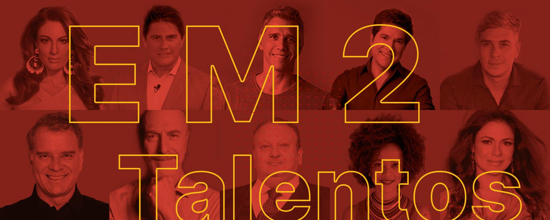 Banner com vários talentos EM2 Talentos e com o texto EM2 Talentos